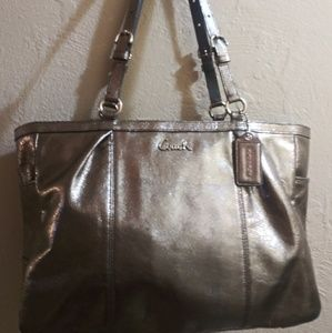 Authentic Coach Metallic Gray large Shoulderbag